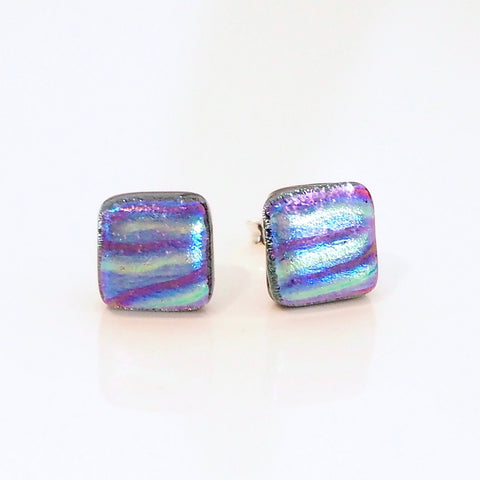 Studs - Gold Purple And Blue Dichroic Glass Stud Earrings