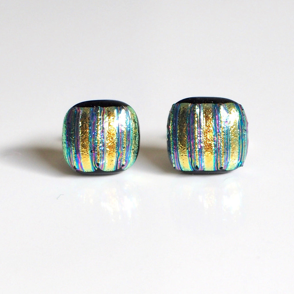 Gold stripes glass stud earrings - Fired Creations