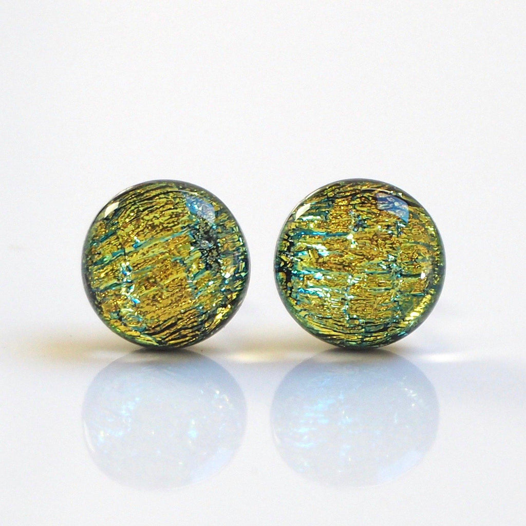 Gold turquoise dichroic glass stud earrings - Fired Creations