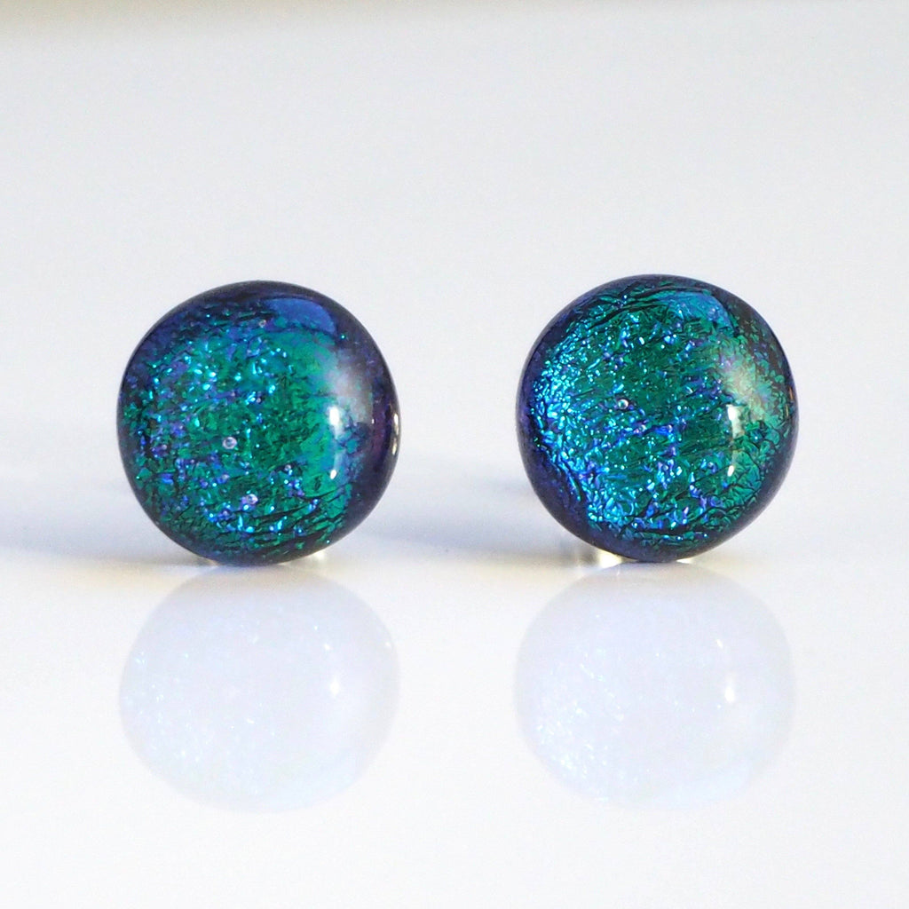 Green blue round dichroic glass stud earrings - Fired Creations