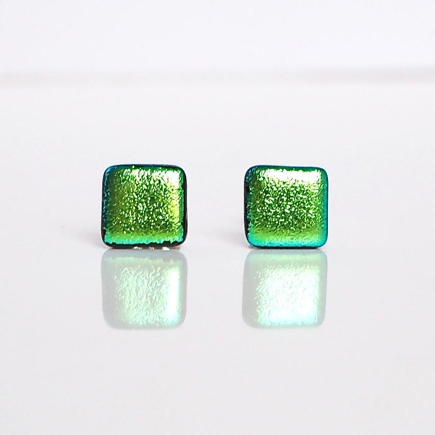 Green dichroic glass stud earrings - Fired Creations