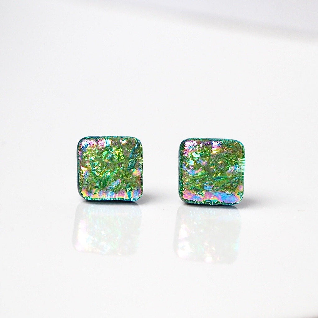 Green glass stud earrings - Fired Creations