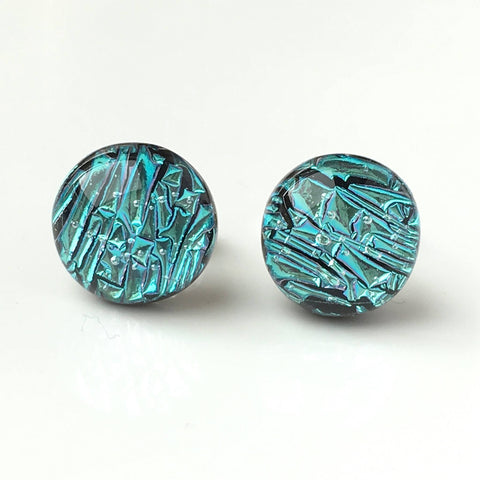 Studs - Ice Blue Fused Dichroic Glass Earrings
