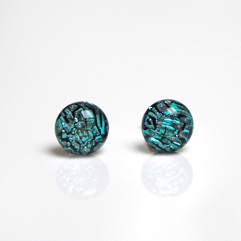 Ice blue fused dichroic glass stud earrings - Fired Creations