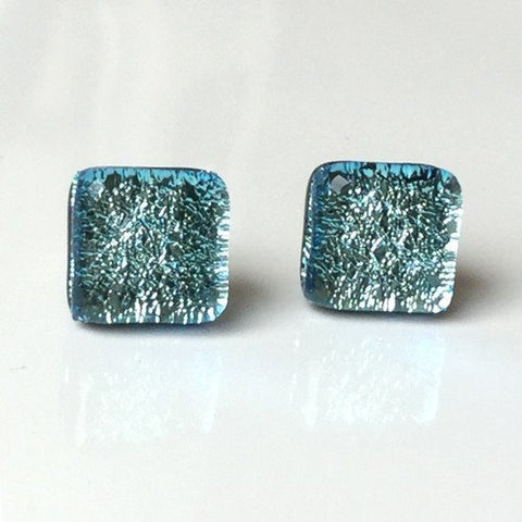 Ice blue fused glass stud earrings - Fired Creations