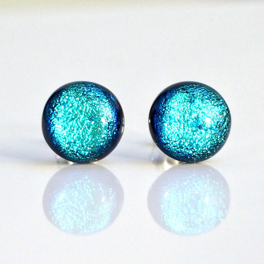 Studs - Ice Blue Round Dichroic Glass Stud Earrings