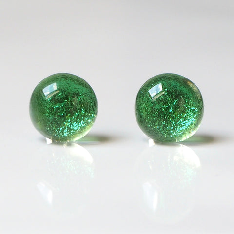 Light emerald green fused dichroic glass stud earrings - Fired Creations
