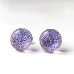 Light purple dichroic glass stud earrings - Fired Creations