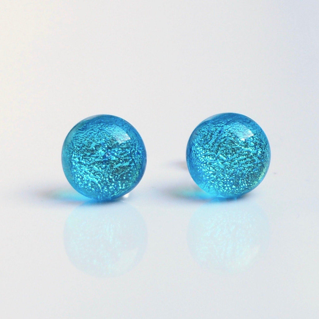 Light turquoise blue glass stud earrings - Fired Creations