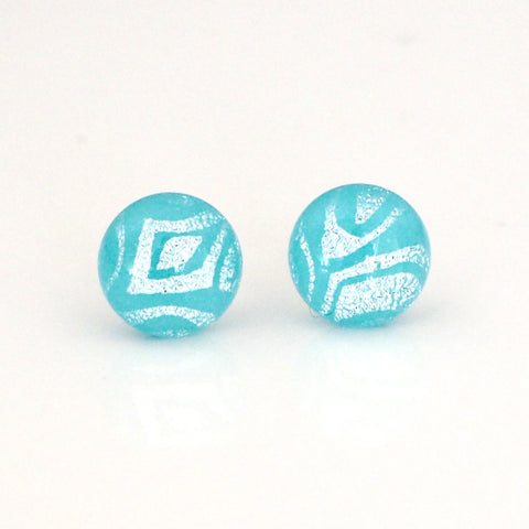 Studs - Light Turquoise Fused Dichroic Glass Stud Earrings With Silver Pattern