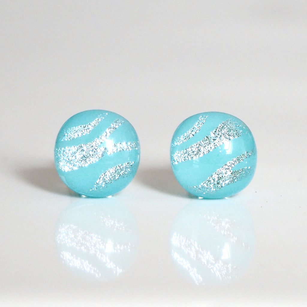 Studs - Light Turquoise Zebra Fused Dichroic Glass Stud Earrings With Silver