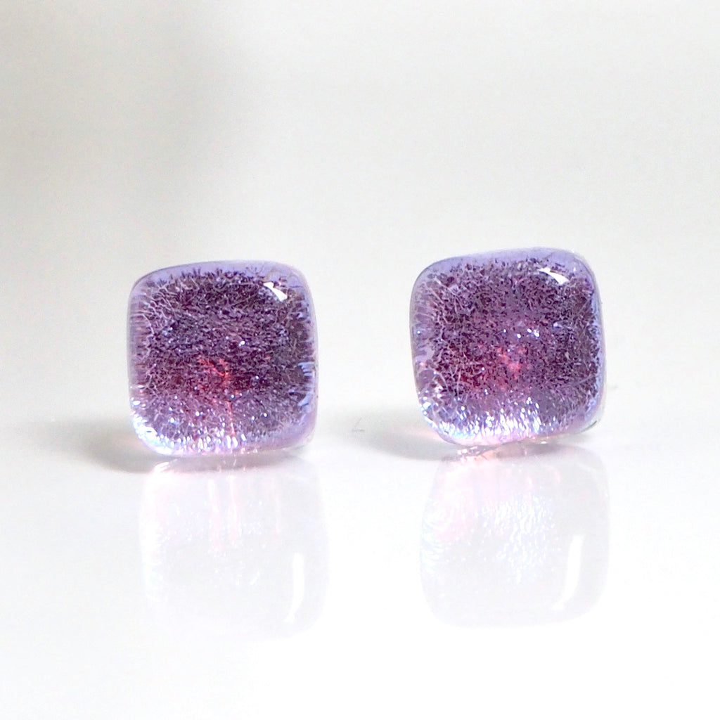 Lilac dichroic glass stud earrings - Fired Creations