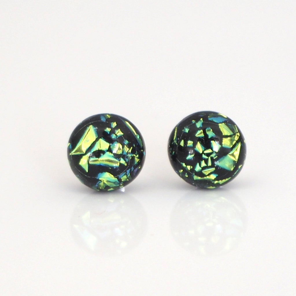 Studs - Lime Green Dichroic Glass Stud Earrings