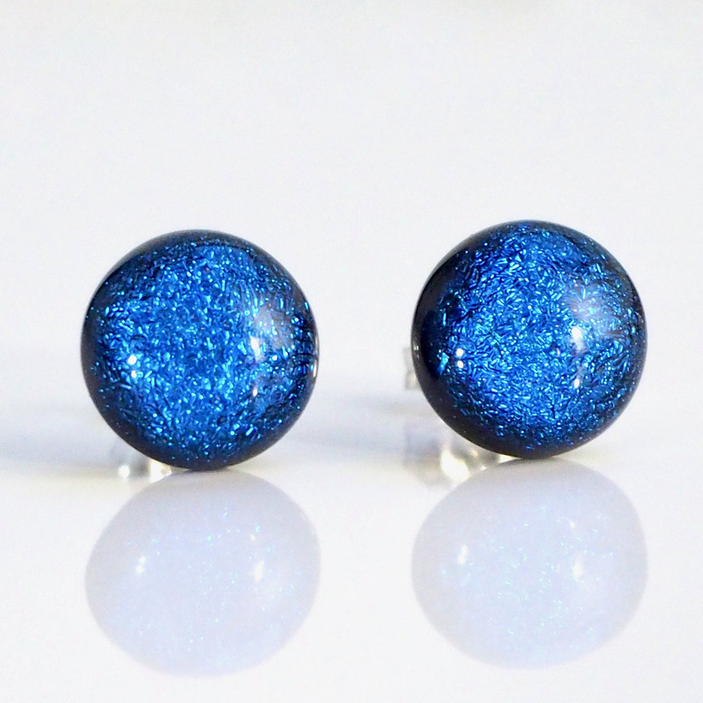 Studs - Mid Blue Fused Dichroic Glass Stud Earrings