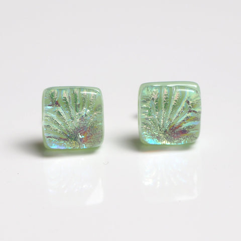 Studs - Mint Green Dichroic Glass Stud Earrings