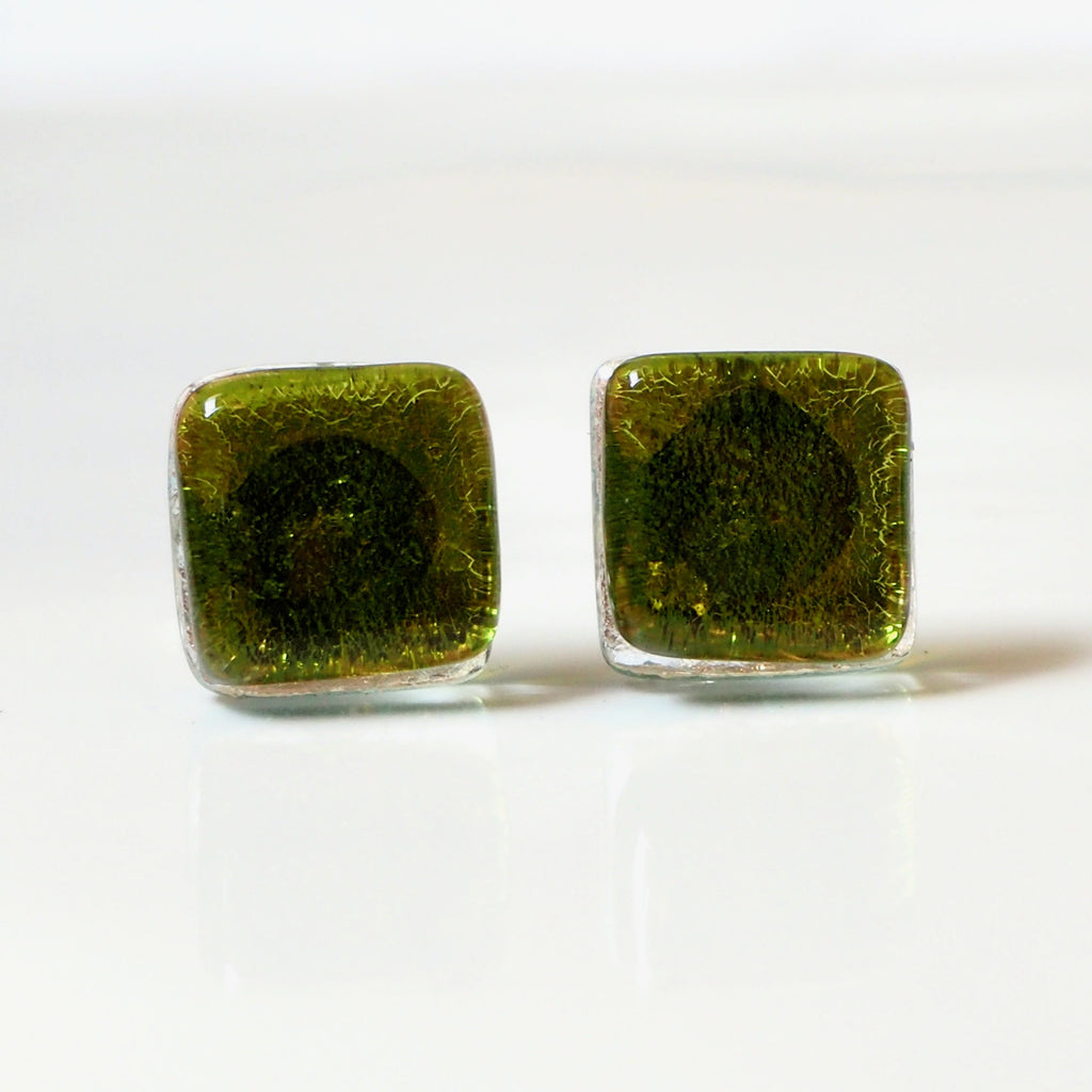 Olive green square glass stud earrings - Fired Creations
