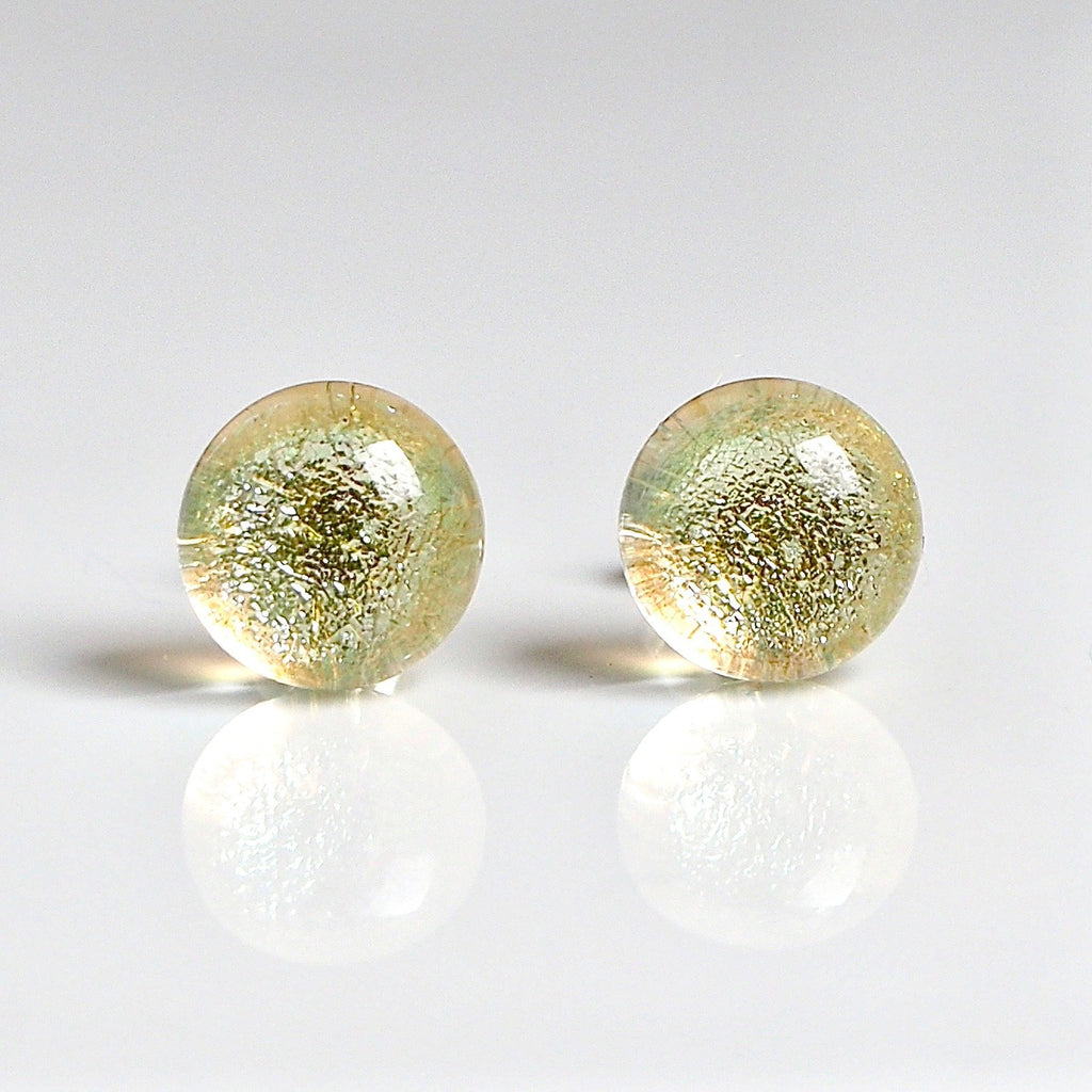Pale gold fused glass earrings - Fired Creations