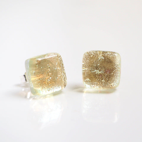 Studs - Pale Gold Square Fused Glass Earrings