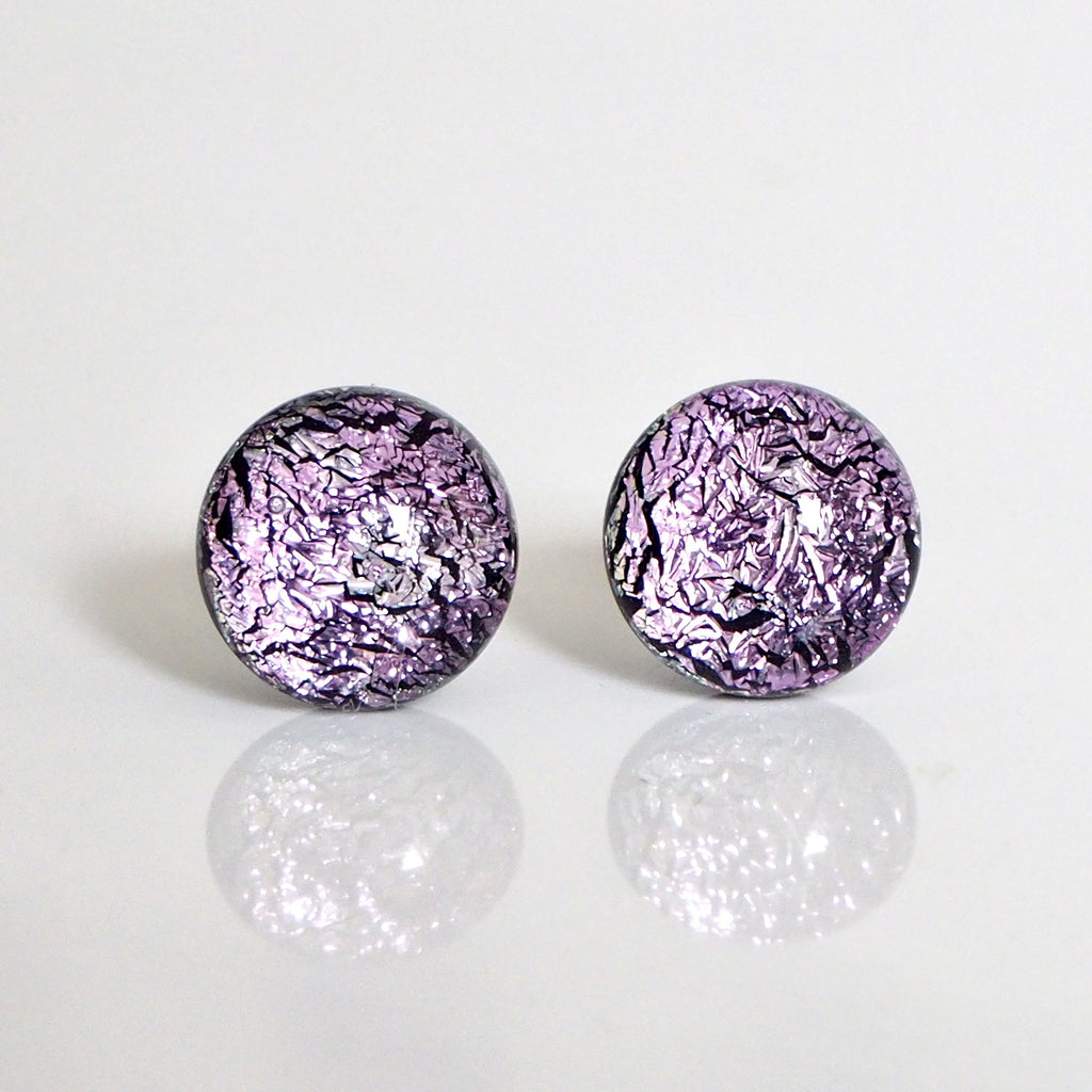 Studs - Pale Pink Dichroic Glass Stud Earrings