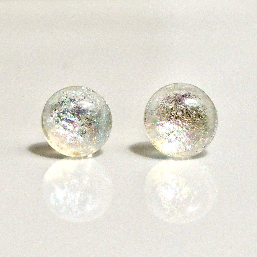 Studs - Pearl White Sparkle Round Dichroic Glass Stud Earrings