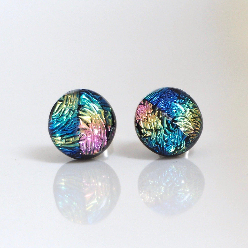 Pink blue and gold stud earrings - fused dichroic glass - Fired Creations
