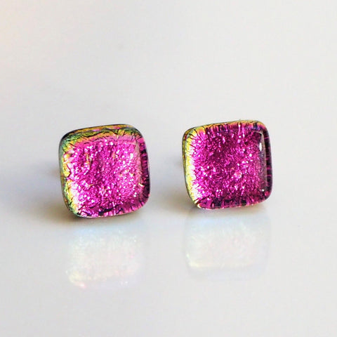 Pink dichroic glass stud earrings - Fired Creations