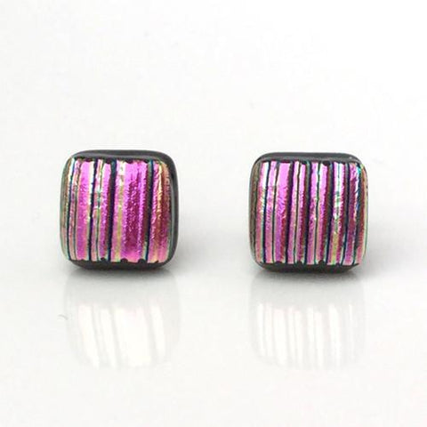 Pink fused glass earrings - Fired Creations