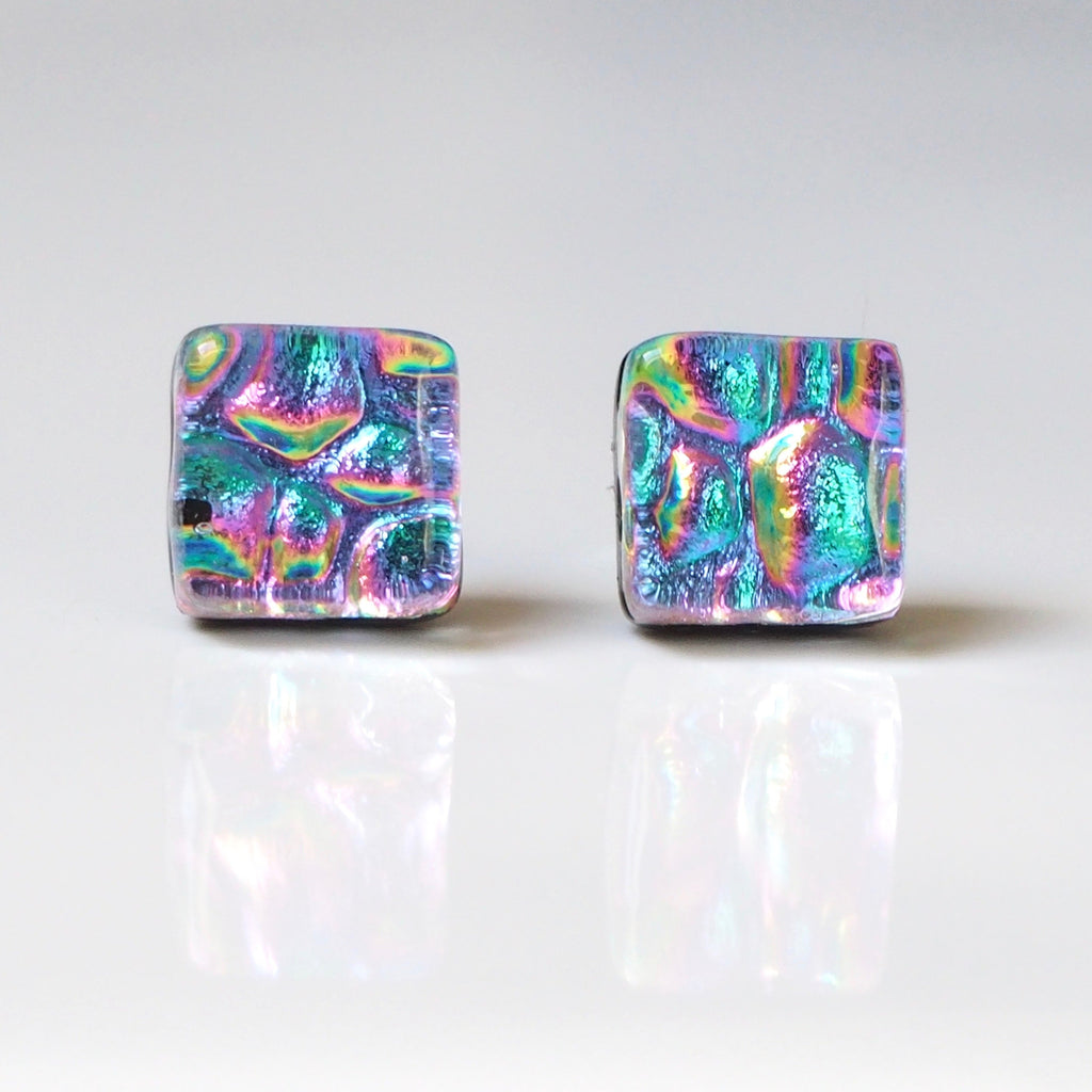 Studs - Pink Mosaic Fused Dichroic Glass Stud Earrings