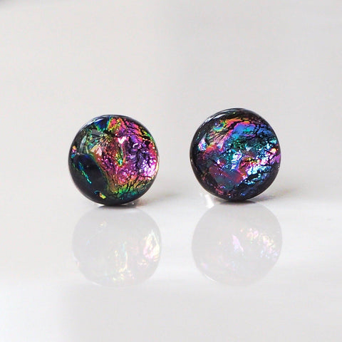 Pink purple blue dichroic glass stud earrings - Fired Creations