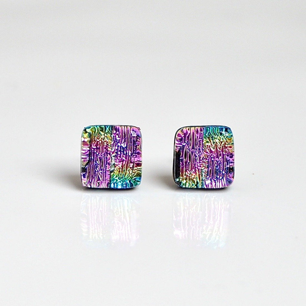 Pink rainbow fused dichroic glass stud earrings - Fired Creations