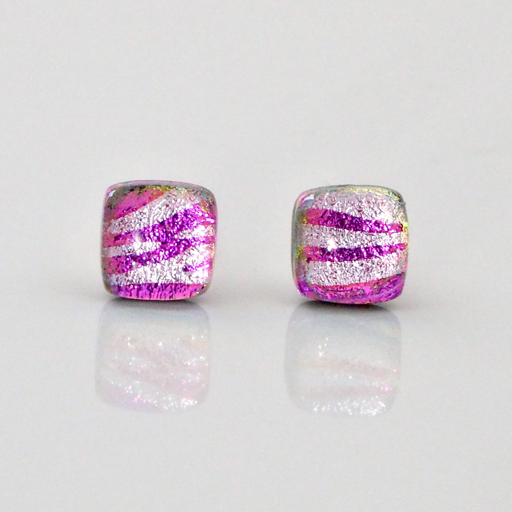 Studs - Pink Silver Zebra Fused Dichroic Glass Stud Earrings