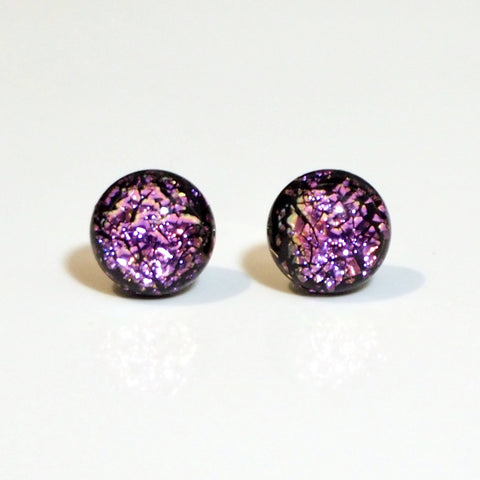 Studs - Pink Sparkle Dichroic Glass Stud Earrings