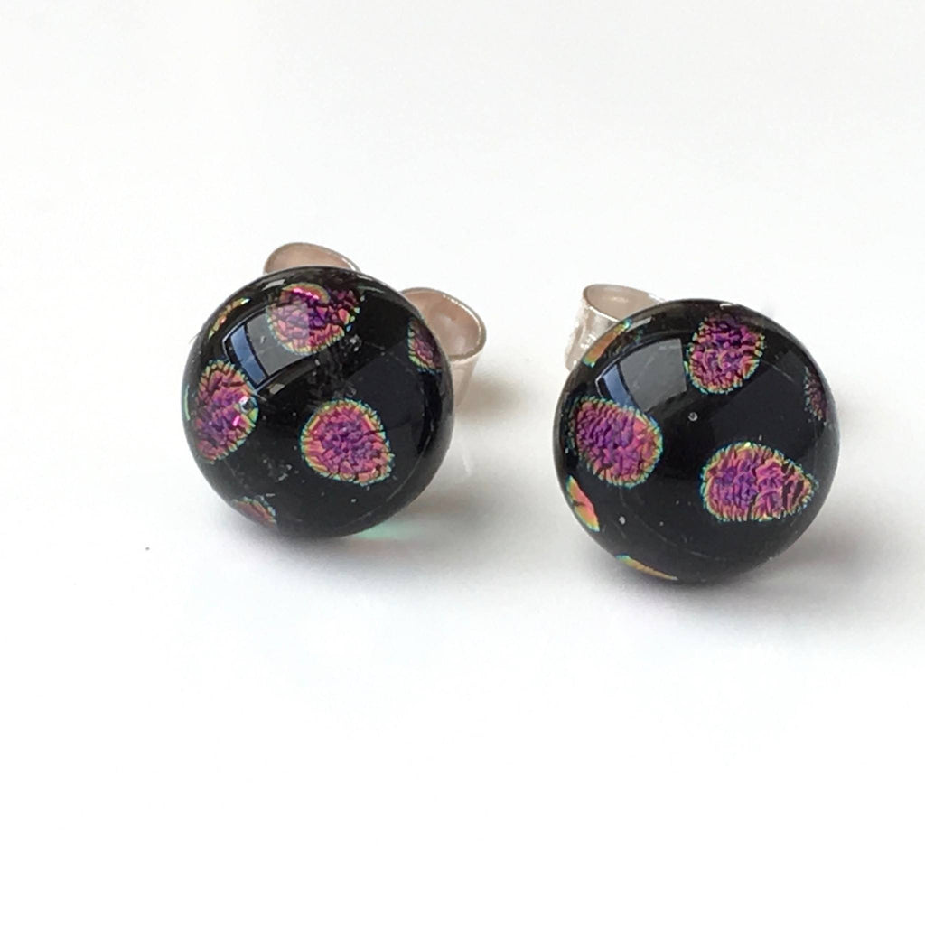 Pink spots fused dichroic glass earrings - Fired Creations