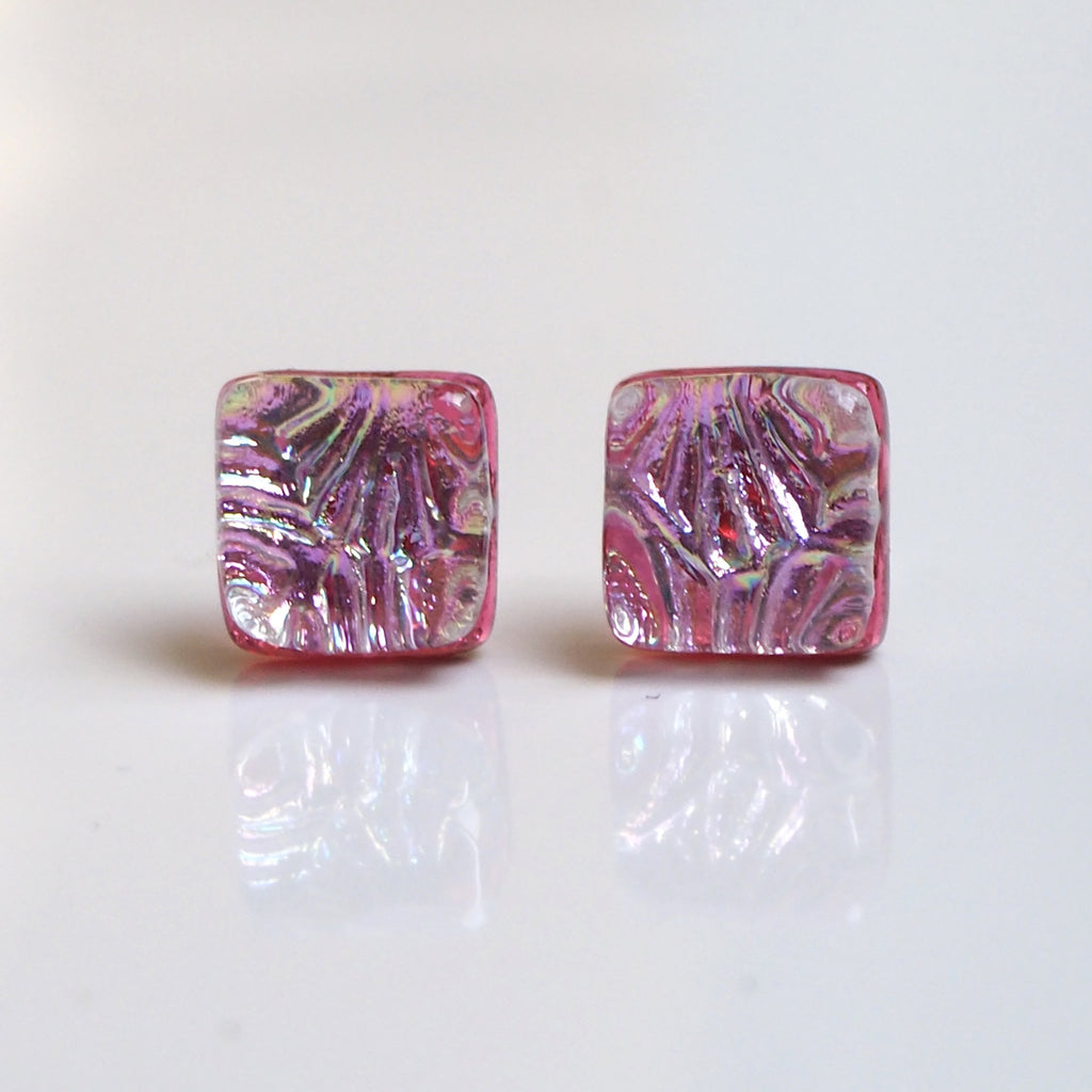 Studs - Pink Texture Dichroic Glass Stud Earrings