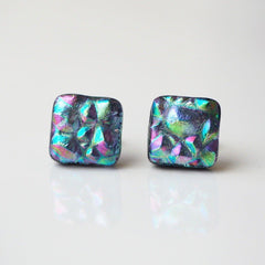 Studs - Purple And Green Fused Glass Earrings