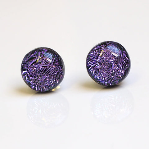Studs - Purple Dichroic Glass Stud Earrings