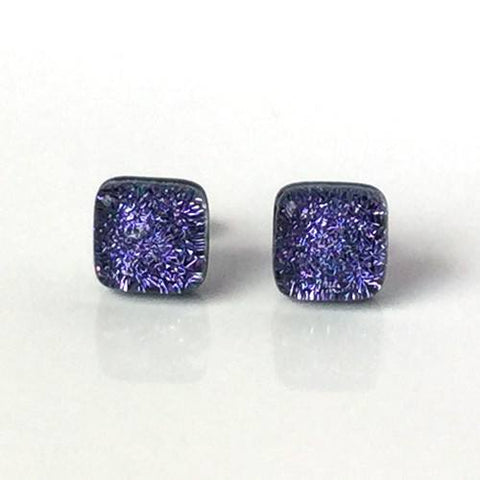 Purple fused dichroic glass stud earrings with surgical steel posts and scrolls - Fired Creations