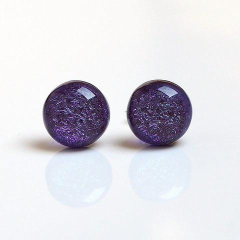 Purple round fused dichroic glass earrings - Fired Creations