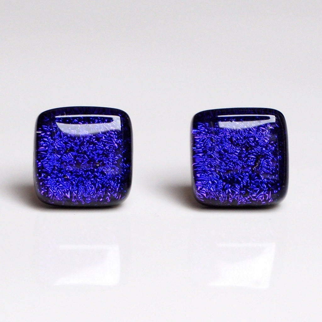 Studs - Purple Square Fused Dichroic Glass Earrings