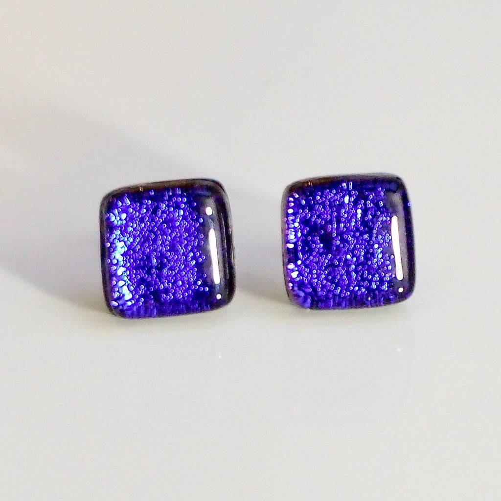 Purple violet dichroic glass stud earrings - Fired Creations