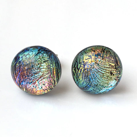 Studs - Rainbow Fused Dichroic Glass Stud Earrings