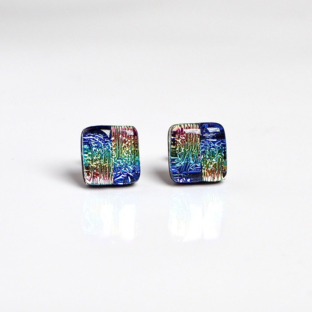 Rainbow fused glass stud earrings - Fired Creations