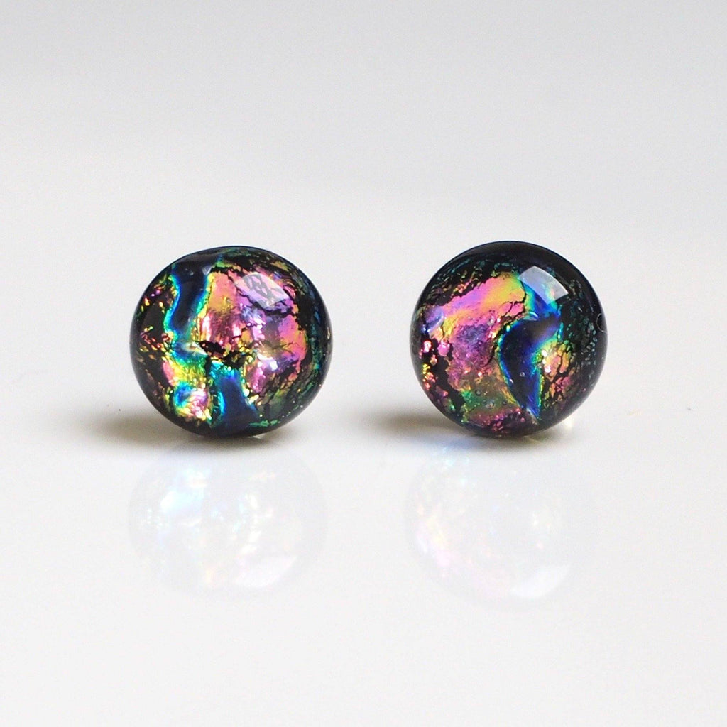 Rainbow pink and blue dichroic glass stud earrings - Fired Creations