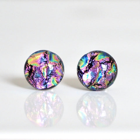 Studs - Rainbow Pink Dichroic Glass Stud Earrings