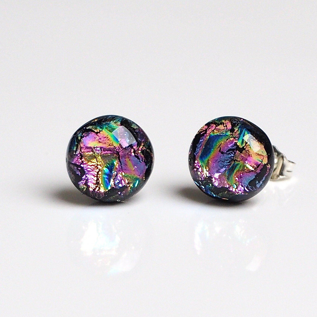 Rainbow stud earrings - fused dichroic glass - Fired Creations