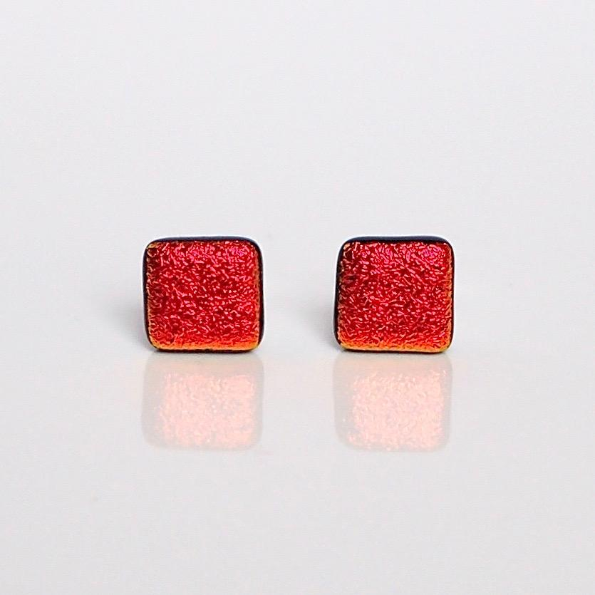 Red dichroic glass stud earrings - Fired Creations
