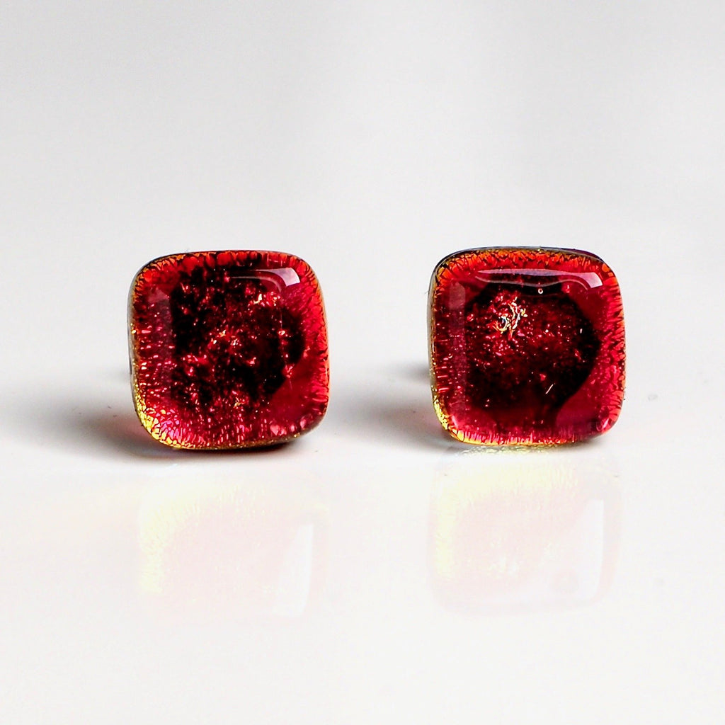 Studs - Red Dichroic Glass Stud Earrings