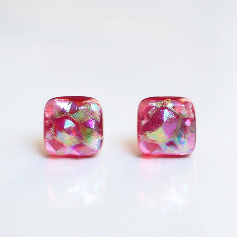 Studs - Red Rainbow Fused Dichroic Glass Earrings