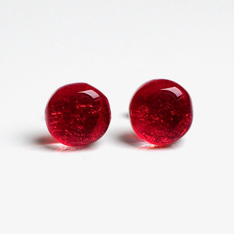 Studs - Red Stud Earrings - Fused Dichroic Glass And Art Glass