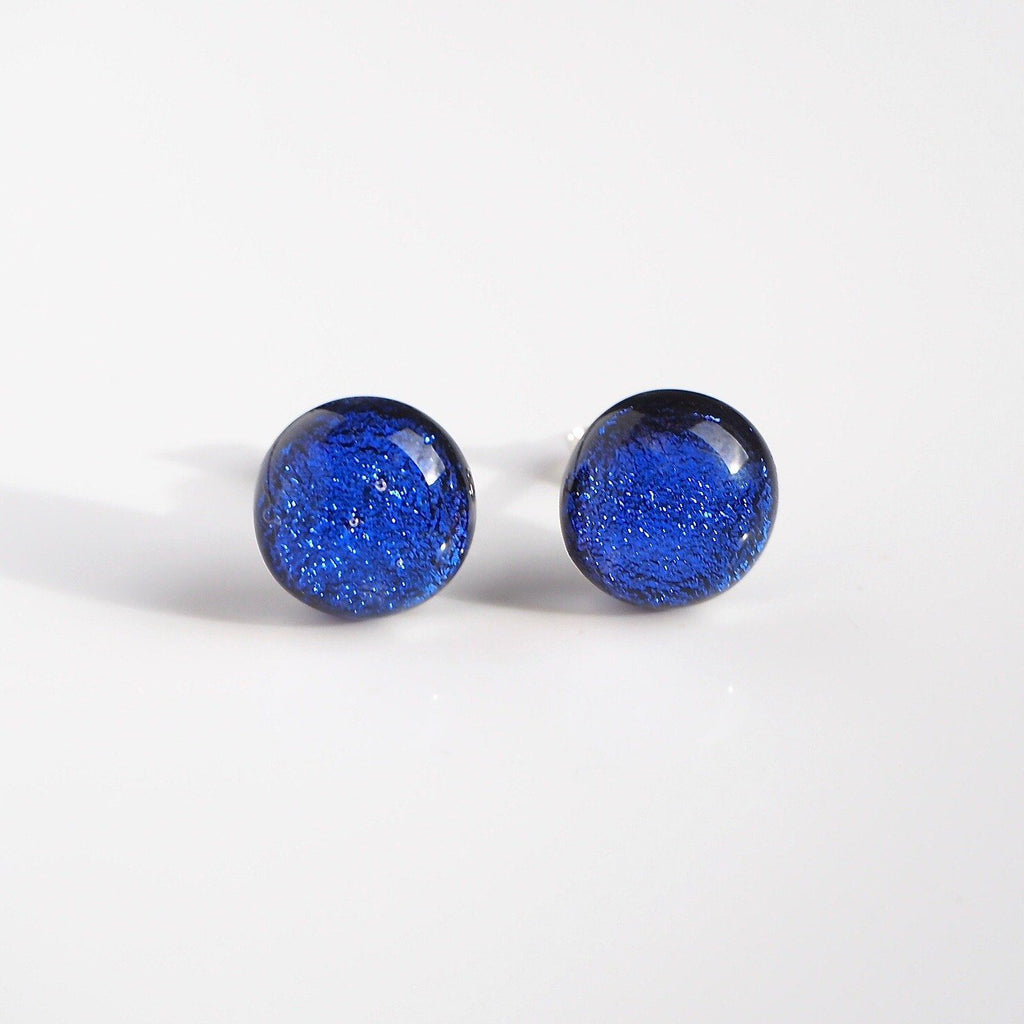 Studs - Royal Blue Dichroic Glass Stud Earrings